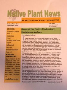 First page of my article in the NCNPS fall newsletter
