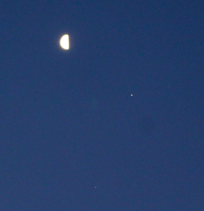 Moon, Jupiter, and Spica