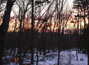 Warm sky colors belied the frigid air temperature.