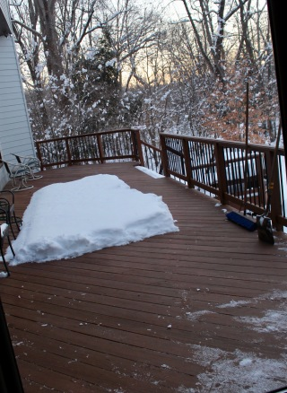 Sunrise on the back deck on January 19. Eleven inches of heavy, wet snow is hard to clear, and this was not the only area we worked on yesterday. Today's morning temperature attained a low of 9.5 degrees -- but we have heat this morning -- win!!
